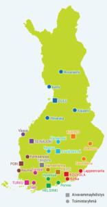 Suomen kartta, johon on sijoitettu aivovammayhdistysten ja toimintaryhmien kotipaikat.