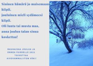 Joulukortissa on luminen maisema ja runo.