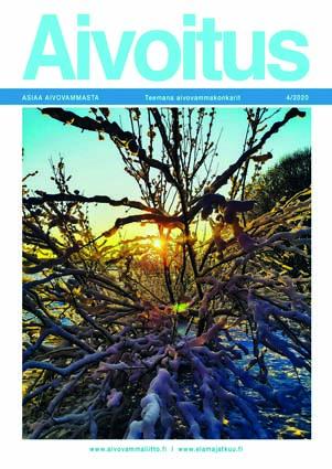 Talviaurinko paistaa lumisen omenapuun oksien lomasta.